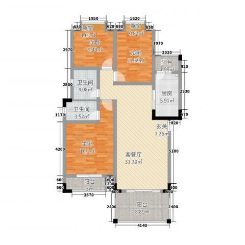 港九・香山屿3室1厅2卫1厨1124.00㎡户型图