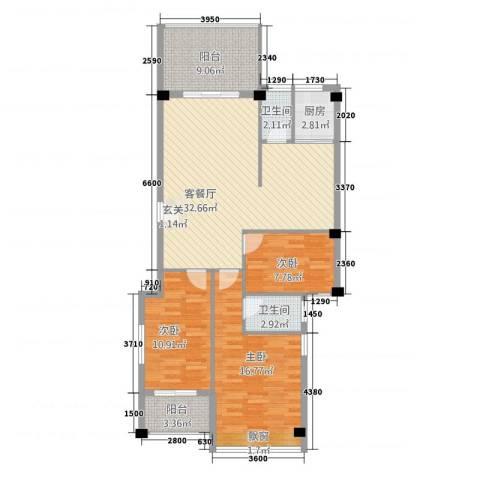 凯悦华庭3室1厅2卫1厨98.90㎡户型图
