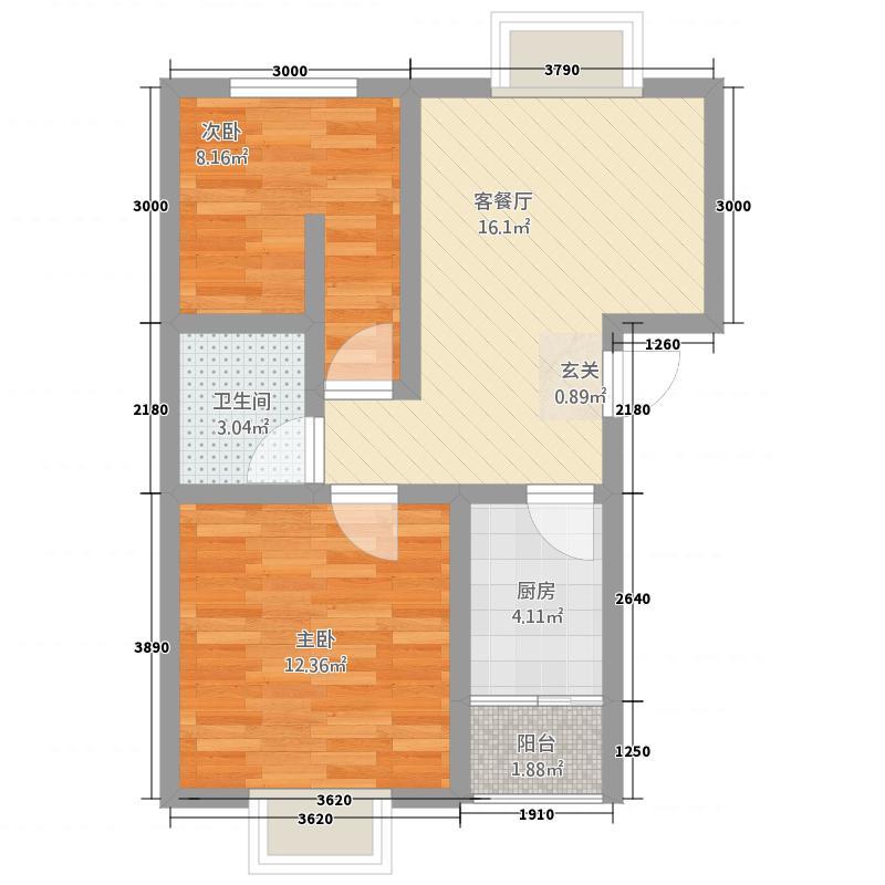 华晋佳苑1267.88㎡C户型2室1厅1卫1厨