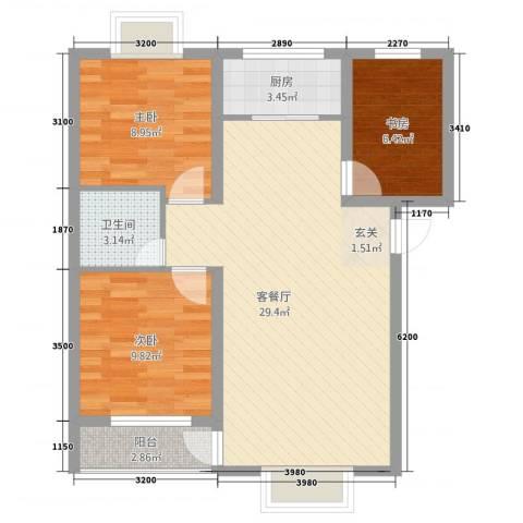 华晋佳苑3室1厅1卫1厨332.00㎡户型图