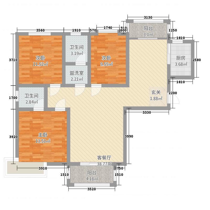 湖景花园134.60㎡三期H1户型3室2厅2卫1厨