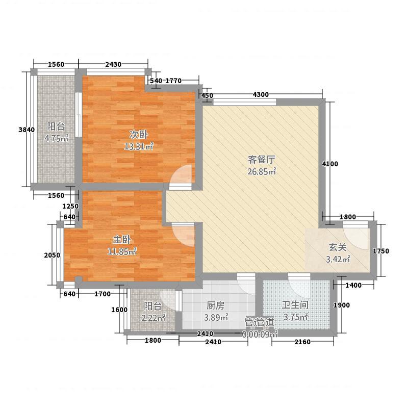 双威理想城二期84.12㎡B户型2室1厅1卫1厨
