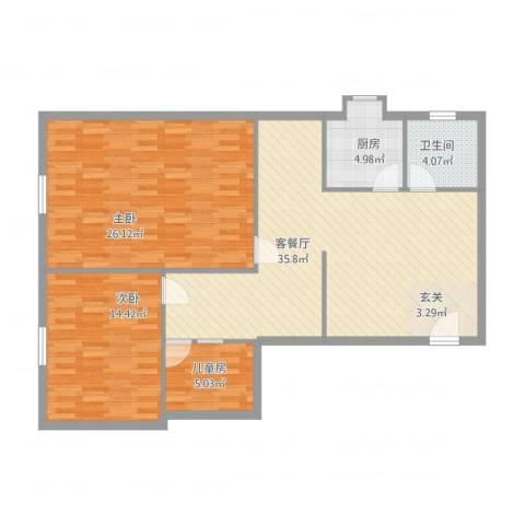 桥东街清心雅苑3室1厅1卫1厨124.00㎡户型图
