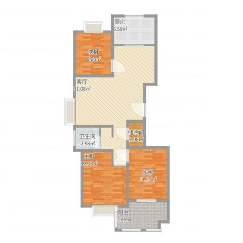 经开英伦花园3室1厅1卫1厨116.00㎡户型图