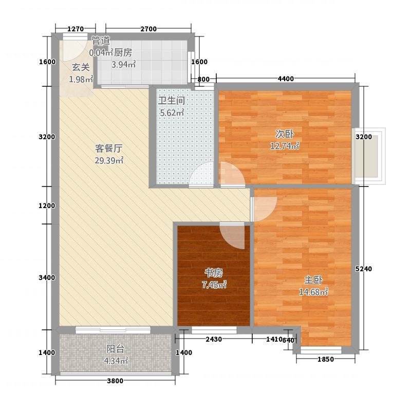 笆篓湾金居115.24㎡1#楼D户型3室2厅1卫1厨