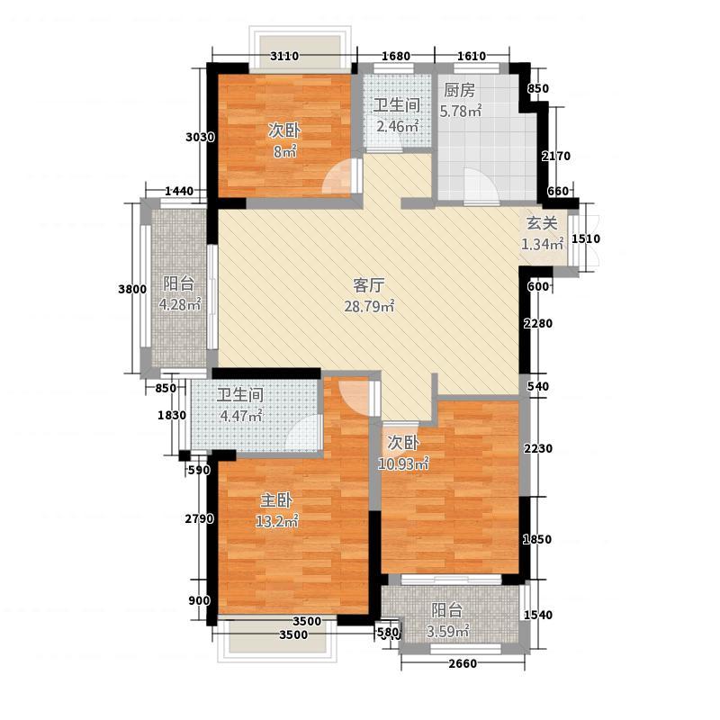 句容万达茂117.20㎡二期标准层D2户型3室2厅2卫1厨