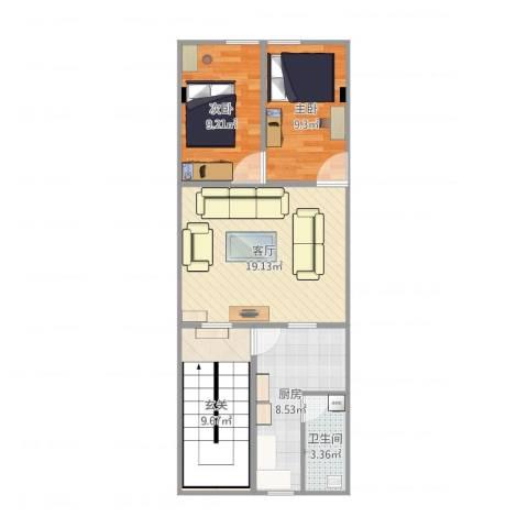 惠迪商贸城2室1厅1卫1厨81.00㎡户型图