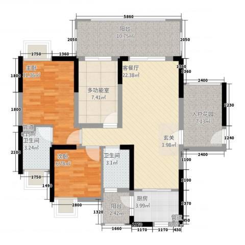 城市假日E区2室1厅2卫1厨114.00㎡户型图