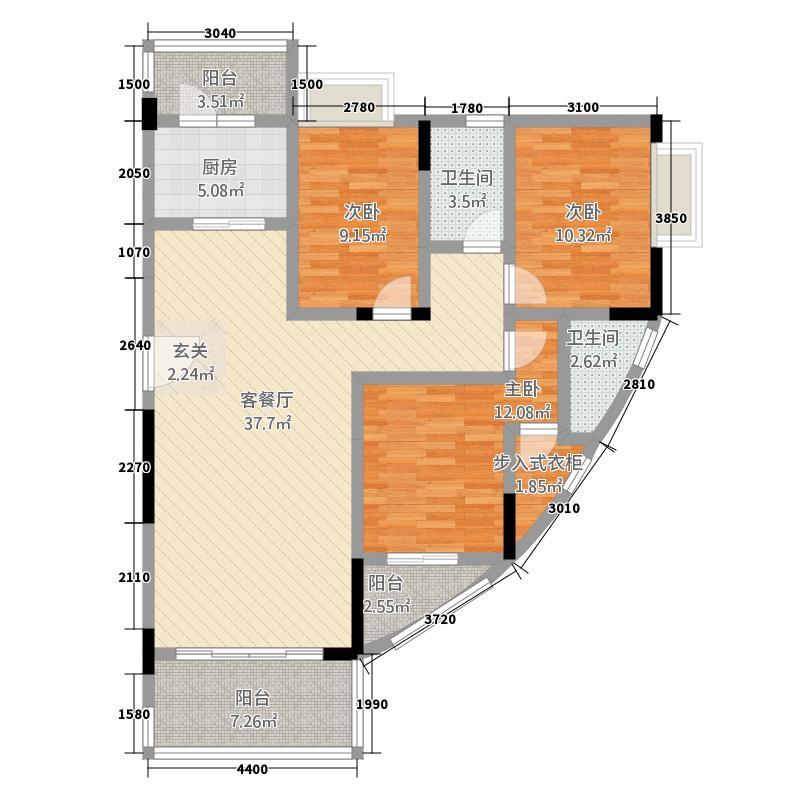 凯龙湾豪园12126.88㎡19\\20栋04标准层户型3室2厅2卫1厨