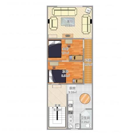 惠迪商贸城012室1厅1卫1厨81.00㎡户型图