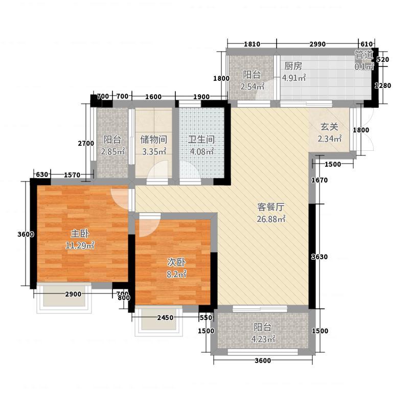 北新・御龙湾8.50㎡高层Z户型2室2厅1卫1厨
