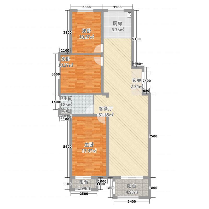 泽信・加州公馆125.00㎡1#、2#、3#户型