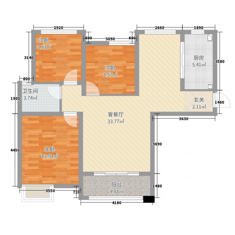 谦祥万和城152111.72㎡三期15#23#D3户型3室2厅1卫1厨