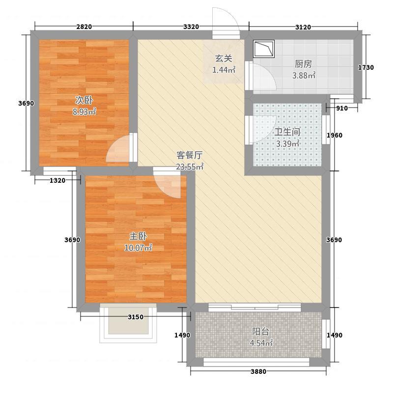 永泽龙湖上公馆18.22㎡1期A3户型2室2厅1卫1厨