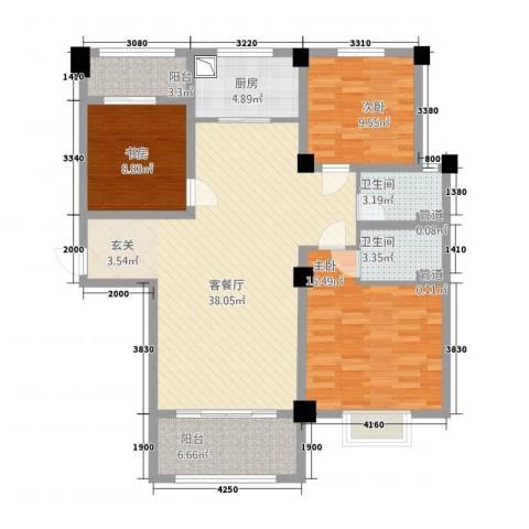 新茂国际轻纺城3室1厅2卫1厨93.48㎡户型图