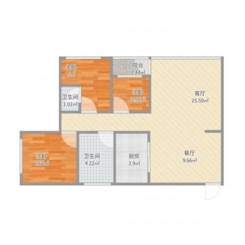 莺岗街小区3室1厅2卫1厨70.00㎡户型图