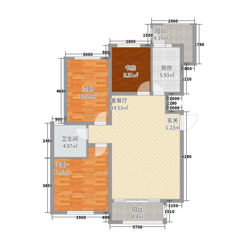 海富御园32117.20㎡B户型3室2厅1卫1厨