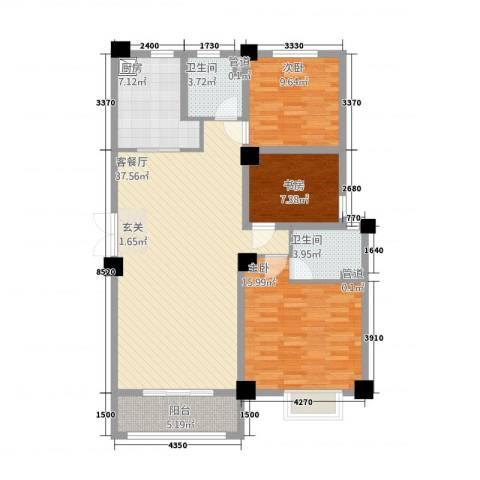 新茂国际轻纺城3室1厅2卫1厨90.77㎡户型图