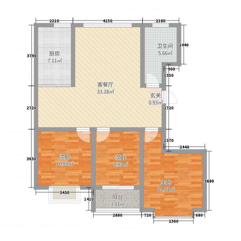 大华中央城611.52㎡高层6户型3室2厅1厨