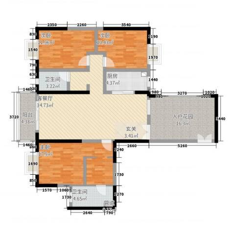 傣泐金湾二期品江苑3室1厅2卫1厨156.00㎡户型图