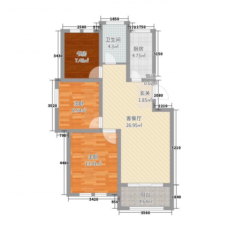 圣泰嘉苑12.20㎡多层A户型3室2厅1卫1厨