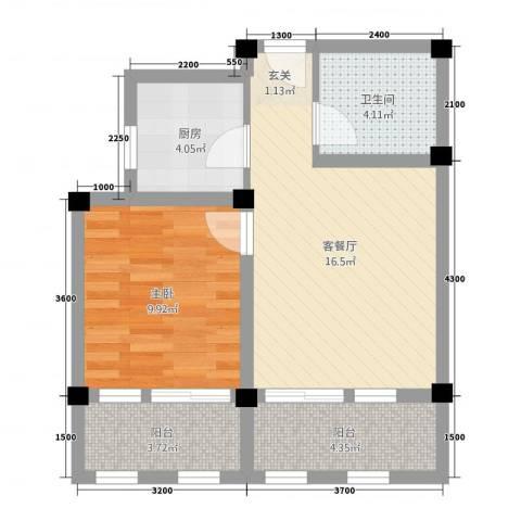 阳光托斯卡纳1室1厅1卫1厨42.65㎡户型图
