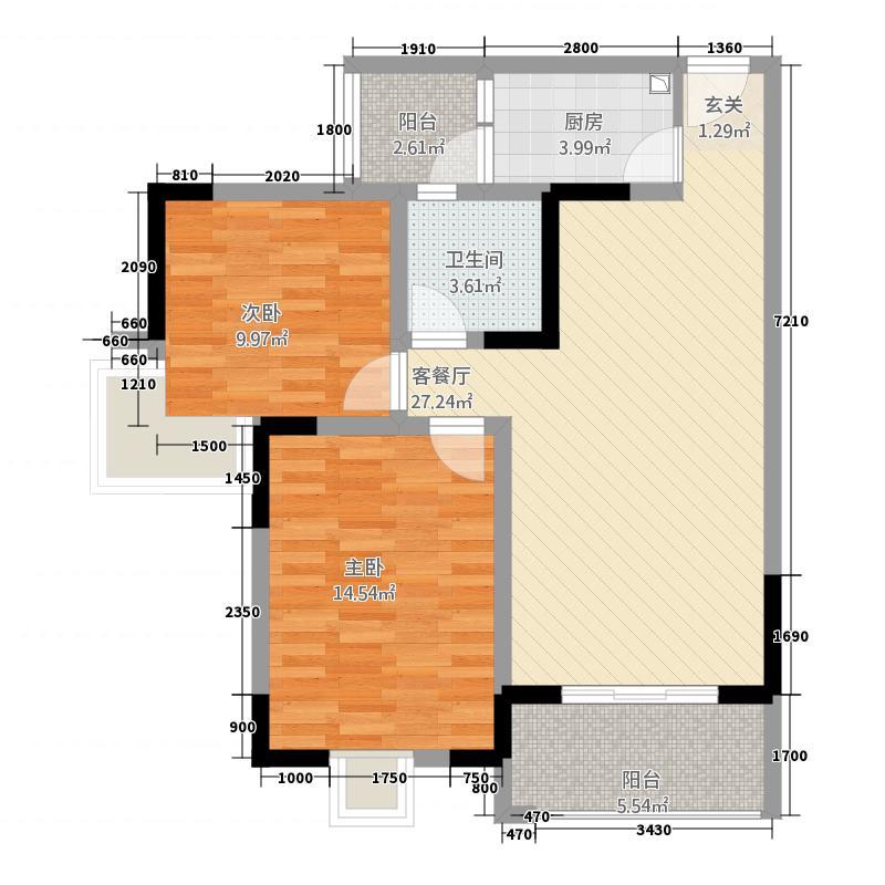 莱茵北郡1784.20㎡一期17号楼E3户型2室2厅1卫1厨