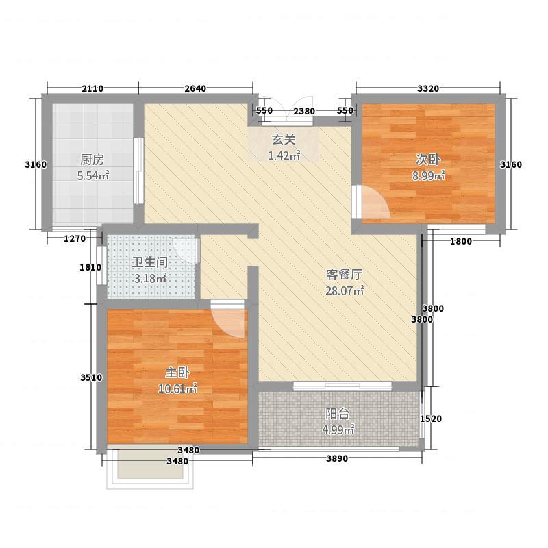 梧桐国际广场88.82㎡户型2室1厅1卫1厨