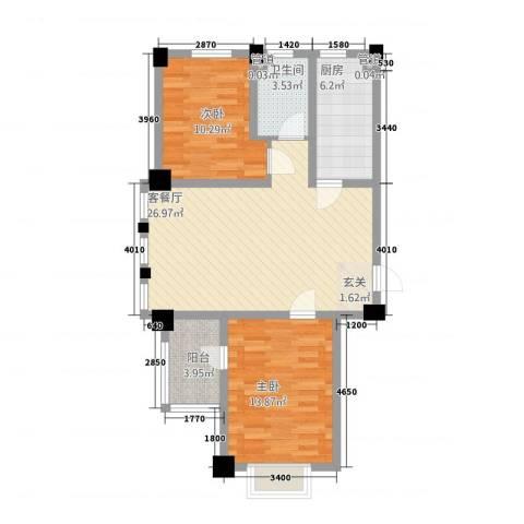 新茂国际轻纺城2室1厅1卫1厨64.88㎡户型图