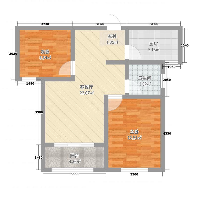 宾悦龙城281.52㎡户型2室2厅1卫1厨
