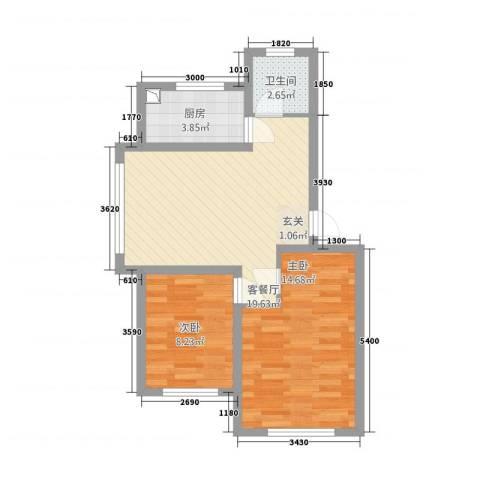 中央上城2室1厅1卫1厨121165.00㎡户型图
