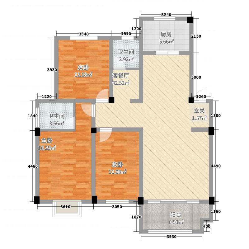 安正御龙湾13121.53㎡A1户型3室2厅2卫1厨