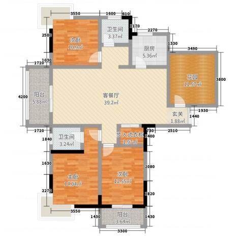 华府骏苑3室1厅2卫1厨32135.00㎡户型图