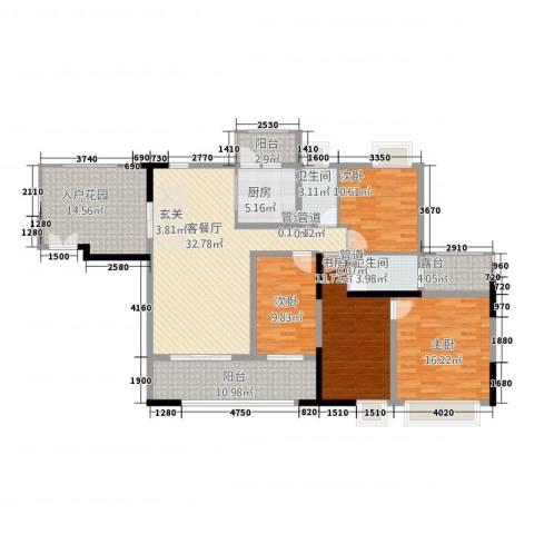 城市假日E区4室1厅2卫1厨128.21㎡户型图