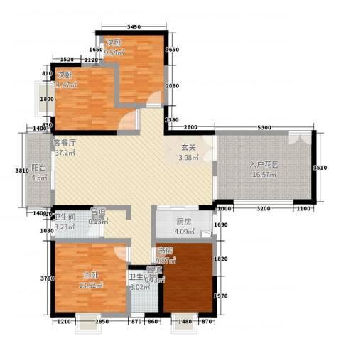 傣泐金湾二期品江苑4室1厅2卫1厨164.00㎡户型图