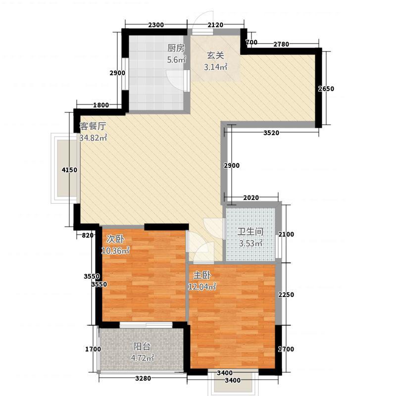 领秀锦江1347.21㎡1#03、04户型2室2厅2卫1厨