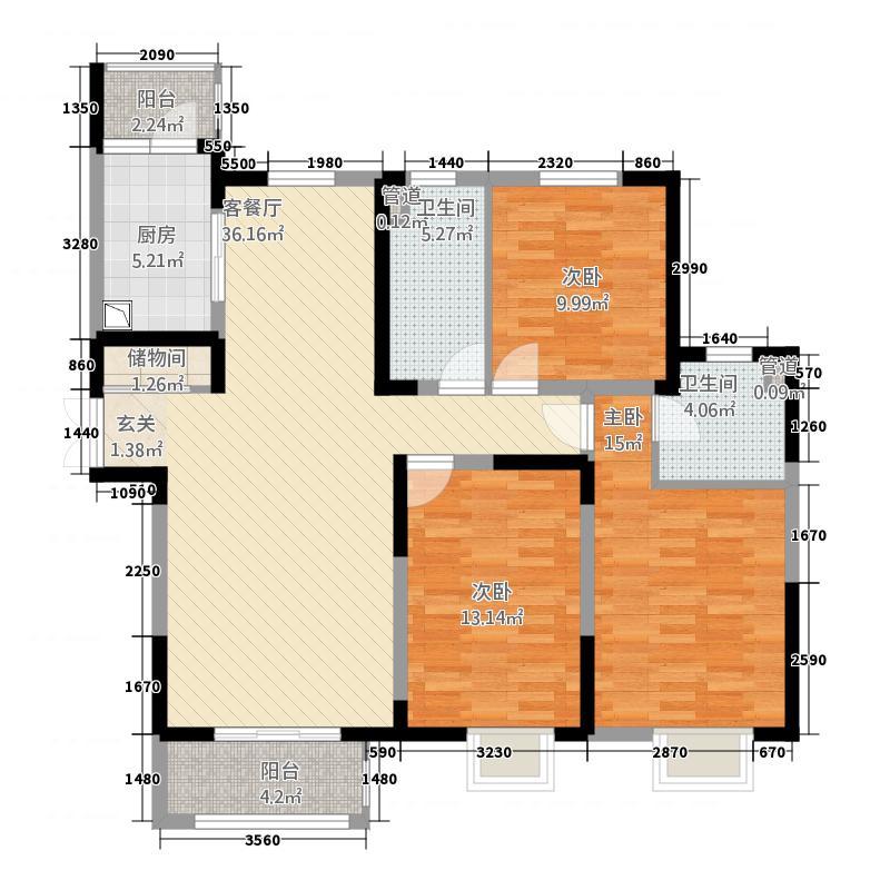 宏润花园32137.64㎡三居户型3室2厅2卫1厨