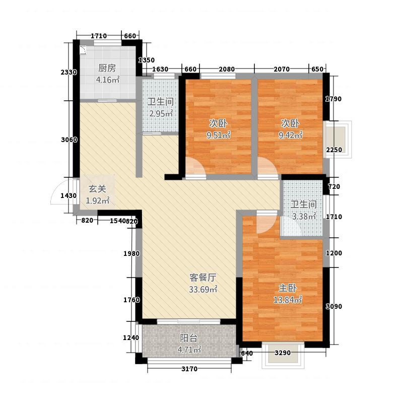 新嘉苑13118.72㎡一期C1户型3室2厅2卫1厨