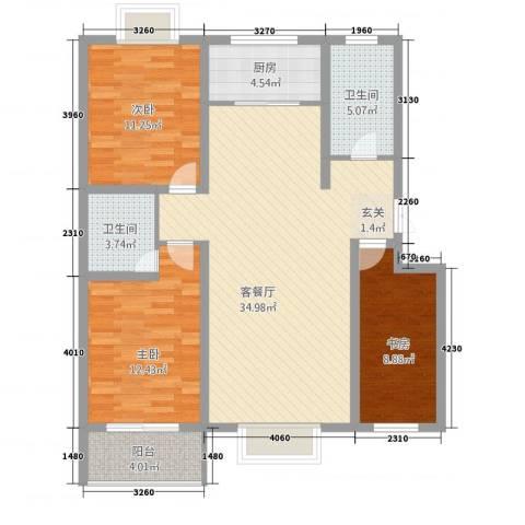 华晋佳苑3室1厅2卫1厨3121.00㎡户型图