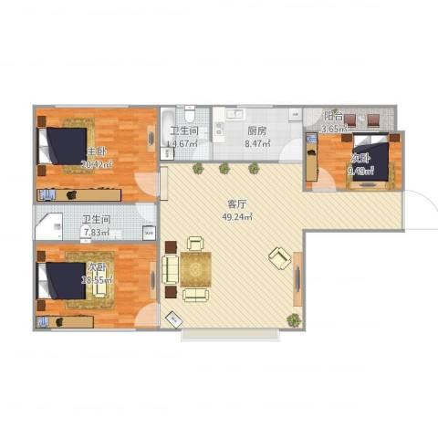 商住城3室1厅2卫1厨162.00㎡户型图