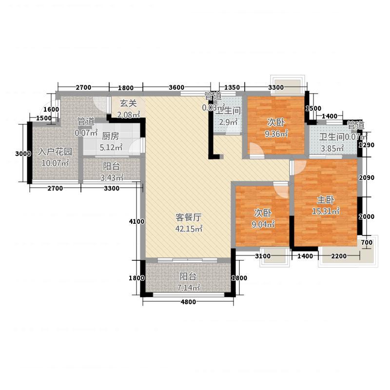 宏大广场3136.45㎡户型3室2厅2卫1厨