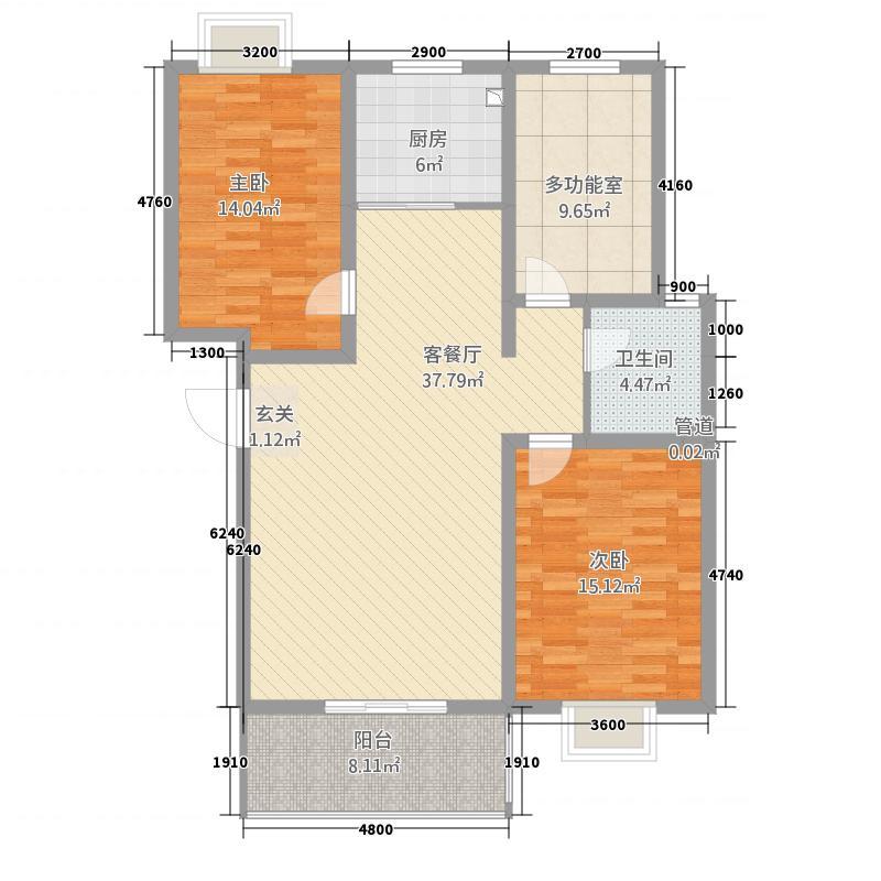 丰林花园12116.63㎡B户型3室2厅2卫1厨