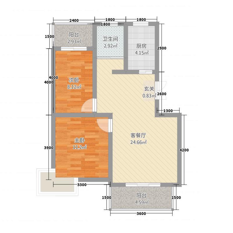 新洋海公园78.82㎡D户型2室2厅1卫