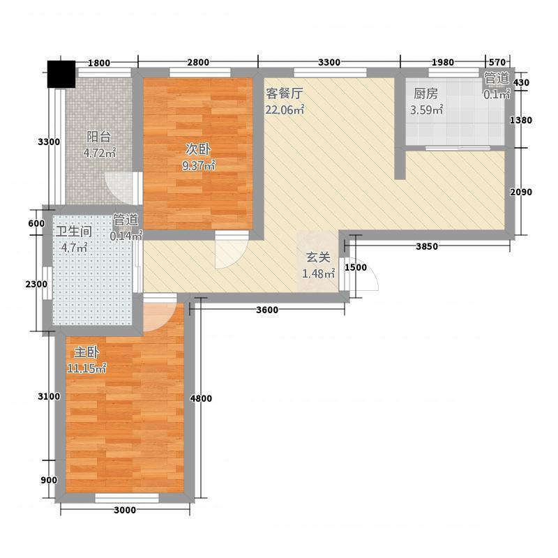 华大城175.20㎡二期C1户型2室2厅1卫1厨