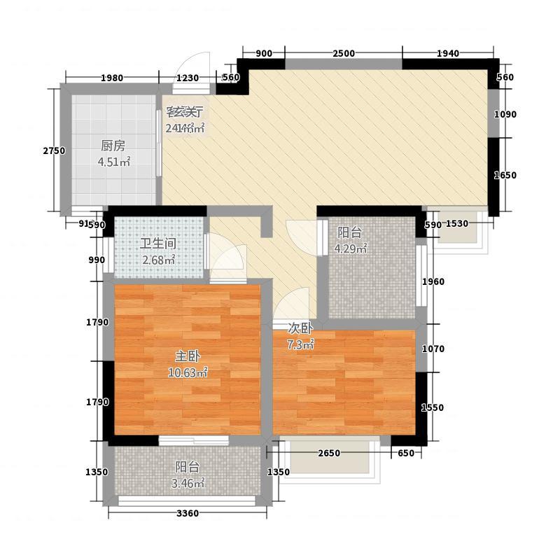 昌鼎・润苑83.74㎡(4)户型2室2厅1卫1厨