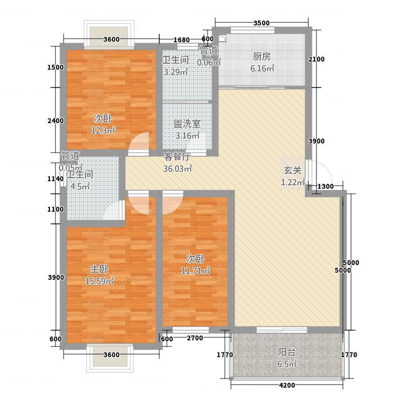 丰林花园11128.82㎡B户型3室2厅2卫1厨