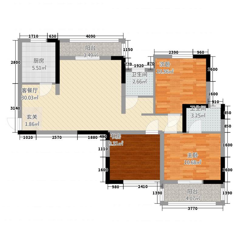 昌鼎・润苑114.61㎡(3)户型3室2厅2卫1厨