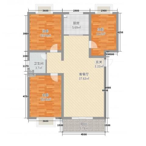 丰林花园3室1厅1卫1厨11116.00㎡户型图