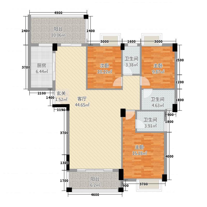 美嘉华庭3162.45㎡一期3号楼标准层06户型3室2厅3卫1厨