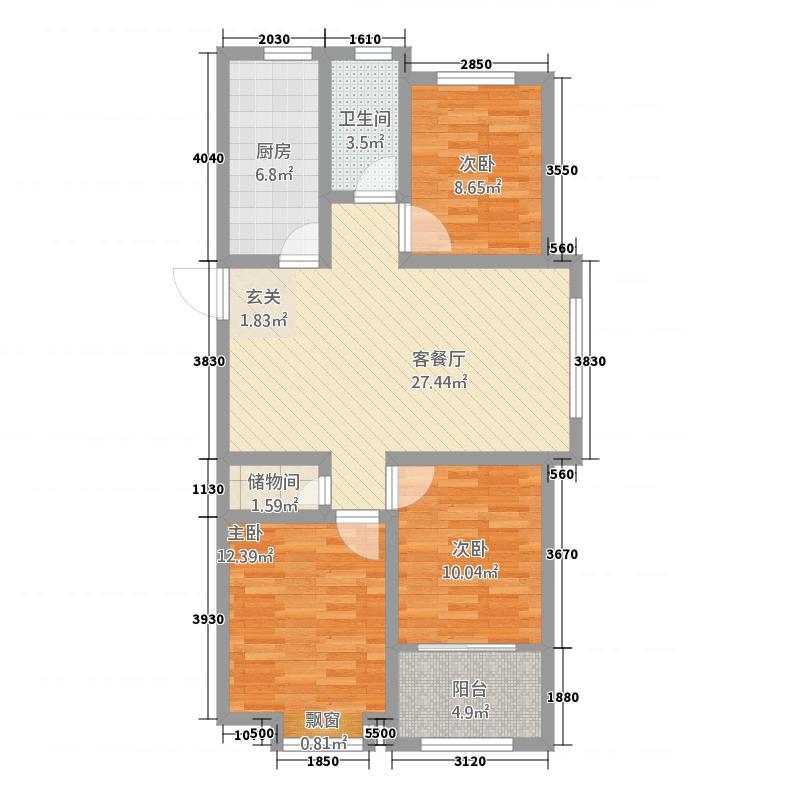 大华中央城31.20㎡高层3户型3室2厅1卫1厨